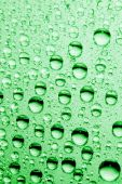 macro of green water drops over a mirror poster