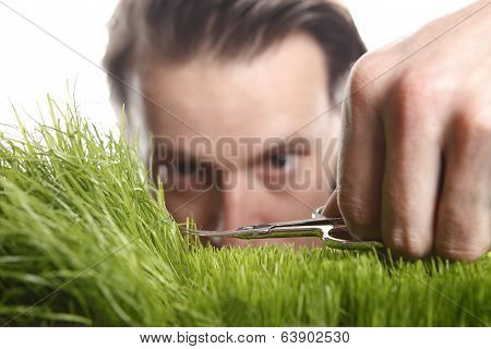 Young Man Cuts English Lawn