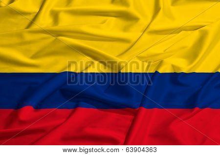 Colombia flag on a silk drape