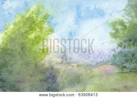 Watercolor Landscape Summer Haze