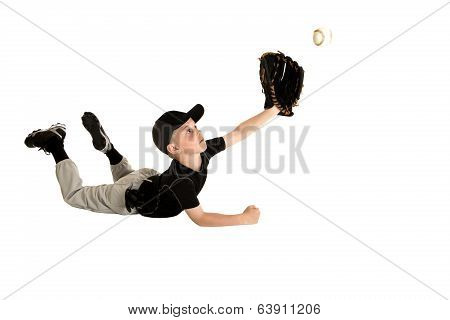 Young Baseball Player Diving To Make An Awesome Catch