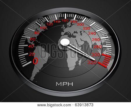 Speedometer and world map, background