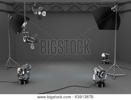 Photo studio room, light equipment