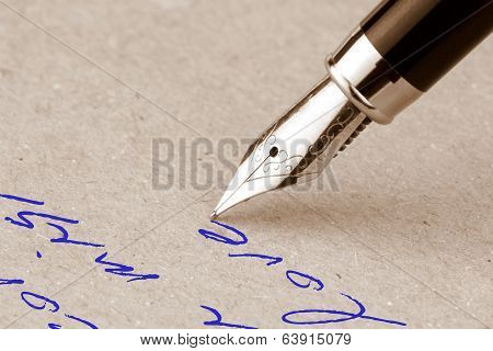 Fountain pen writing on the paper
