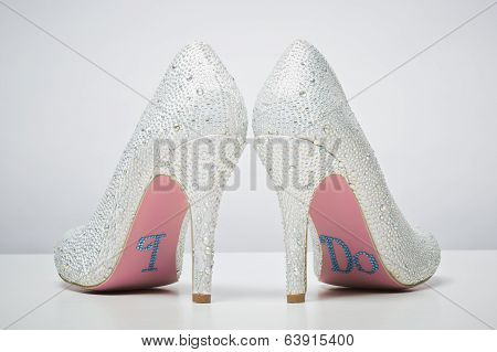Bridal Wedding Shoes With I Do Message On Sole