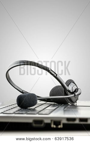 Headset On Laptop Computer