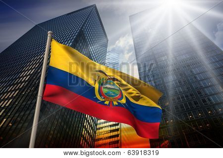 Ecuador national flag against low angle view of skyscrapers at sunset poster