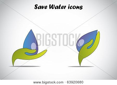 Green Colorful Hand protecting Holding Big Drop Of Water Conserve Or Save Water Concept