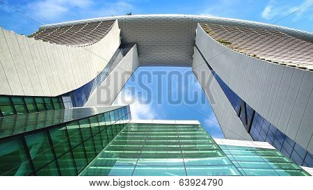 View from the bottom up of the Marina Bay Sands.