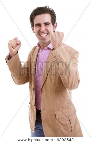Happy Energetic Businessman With His Arms Raised