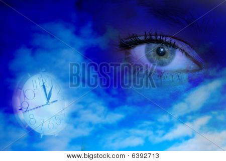 abstract scene with feminine glance with background poster