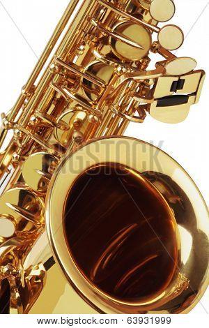Close Up Of Saxophone On White Background
