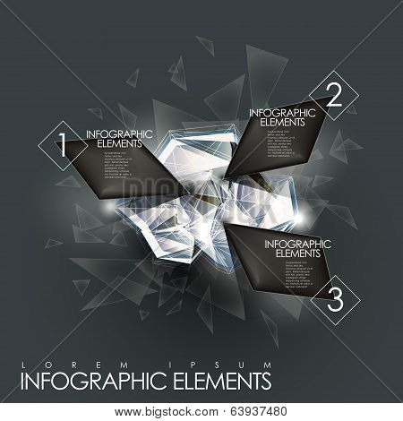 Vector Abstract Twinkle Gem Infographic Elements