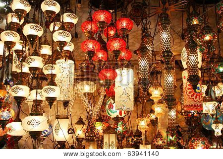 ISTANBUL-APRIL 23:Turkish Lanterns in Grand Bazaar