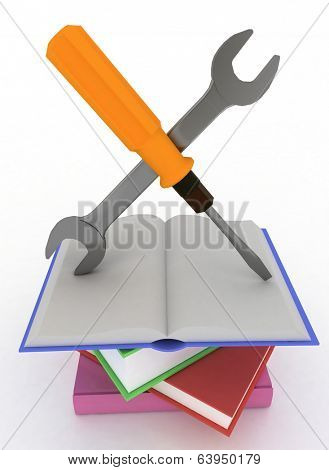 Technical support or instruction manual icon concept. Isolated on white background.