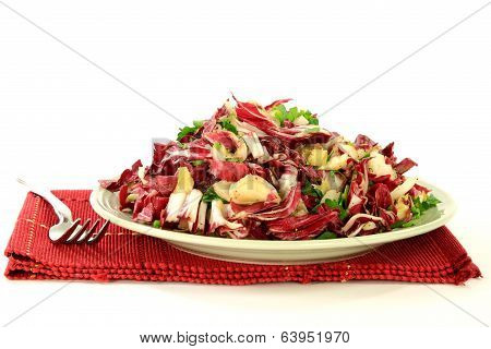 Gourmet Salad From Radicchio, Endive And Seasonings