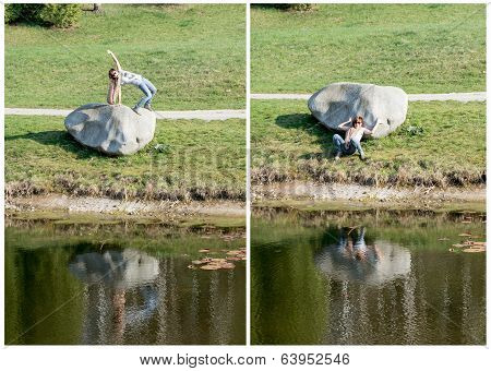Collage Of Photos - Young Woman Posing With Big Boulder At The Lake
