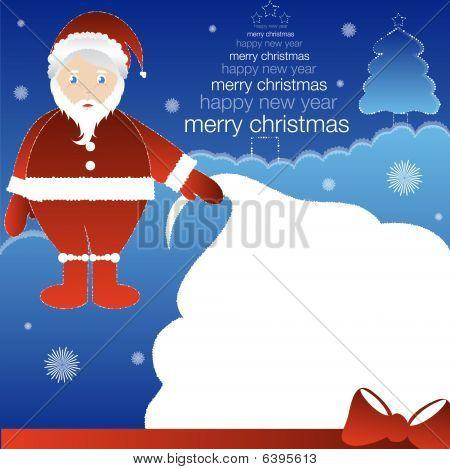 Santa holding huge gift bag
