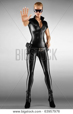 Sexy Female Security Guard.