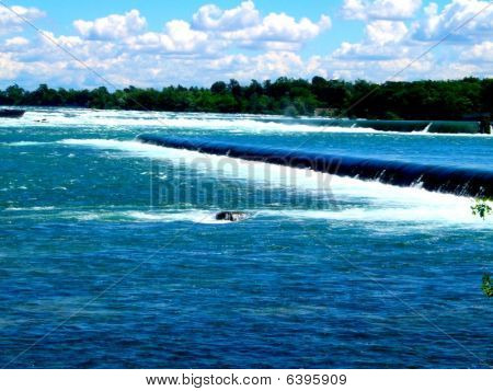 Mini waterfall on the river.