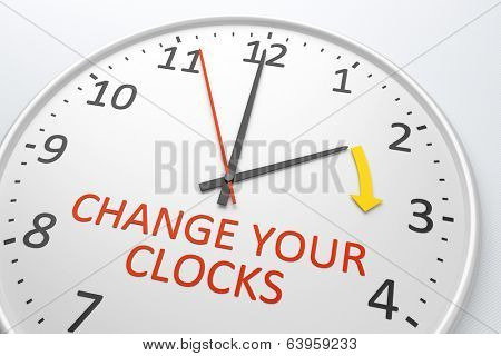 An image of a nice clock with text change your clocks