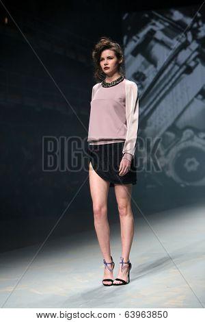 ZAGREB, CROATIA - APRIL 10: Fashion model wears clothes made by Tatjana Pantos on