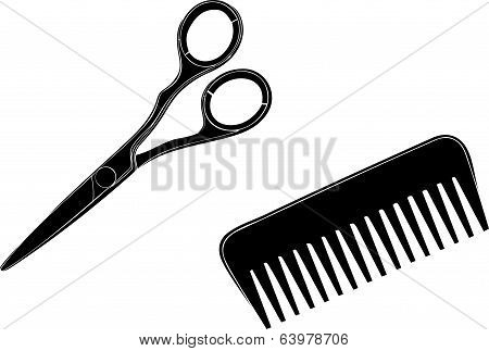 Scissors and hairbrush
