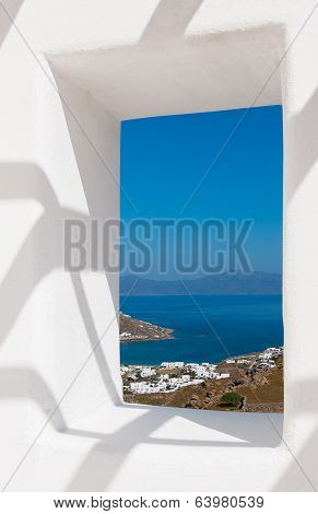 View Through A White Wall Window To The Sea And Coast