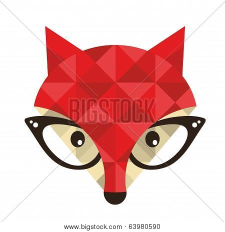 Hipster emblem with fox.
