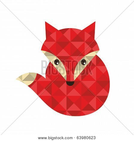 Little red fox made of triangles.