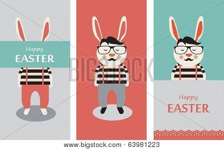 Three illustrations of Hipster rabbits