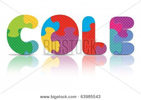 COLE written with alphabet puzzle - vector illustration