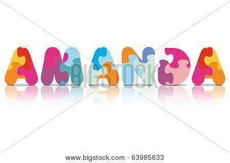 AMANDA written with alphabet puzzle - vector illustration