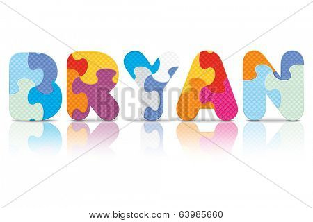 BRYAN written with alphabet puzzle - vector illustration