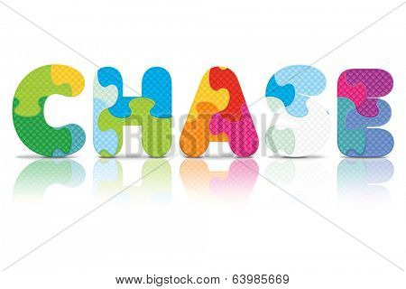 CHASE written with alphabet puzzle - vector illustration