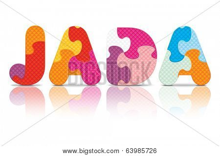 JADA written with alphabet puzzle - vector illustration