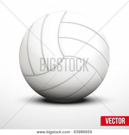 Volleyball ball in traditional color on white background. Vector realistic Illustration. poster
