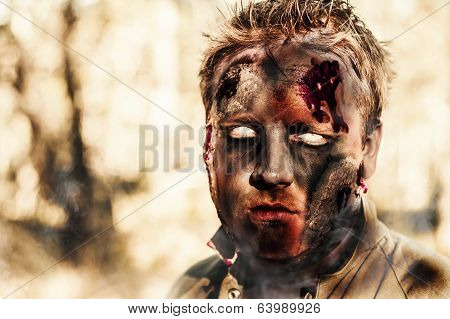 Burnt Zombie Standing In Smouldering Horror Forest