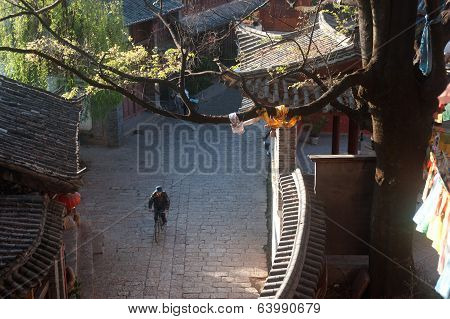 Daily Life On Street In Lijiang Dayan Old Town.
