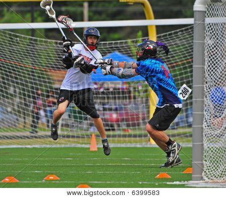 Chumash lacrosse shot on goal