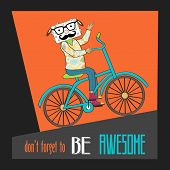 Hipster poster with nerd sheep riding bike vector illustration poster