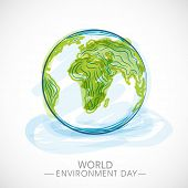 World Environment Day concept with mother earth globe on blue background.  poster