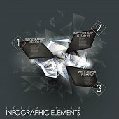 3d modern vector abstract twinkle gem infographic elements poster