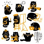 Vector characters set. Black cats with yellow objects. Different creative professions. poster