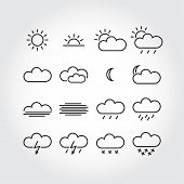 Simple weather icons minimalistic vector icons, vector illustration poster