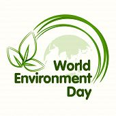 World Environment Day concept with beautiful green leaves on world map background, can be use as flyer, banner or poster.  poster