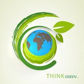 World Environment Day concept with world earth globe and beautiful green leaves on abstract background.  poster