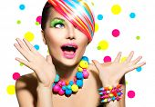 Beauty Woman Portrait with Colorful Makeup, Hair, Nail polish and Accessories. Colourful Studio Shot of Girl Woman. Vivid Colors. Manicure and Hairstyle. Rainbow Colors. Open Mouth, Emotions  poster