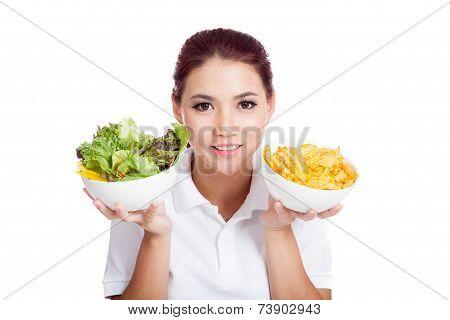 Asian Girl Smile With Crisps And Salad