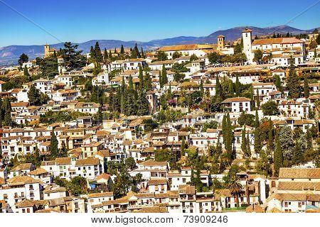 Alhambra White Buildings Cityscape Churches Albaicin Carrera Del Darro Granada Andalusia Spain. White Buildings becom e a pattern in Granada. poster